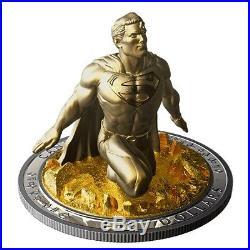 10 oz SUPERMAN Sculpture 3D Last Son Of Krypton Silver Coin 100$ Canada 2018