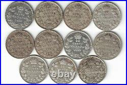 11 X Canada Ten Cents Dimes King George V. 800 Silver Coins 1920 -1936 Canadian