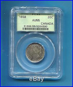 1858 CANADA 20 cents PCGS AU55 925 SILVER COIN FIRST YEAR 730,392 MINTED SCARCE