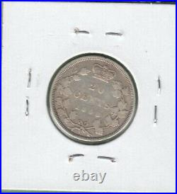 1858 Canada 20 Cents Silver Coin Re-Engraved 5 Fine (Rim Damage)