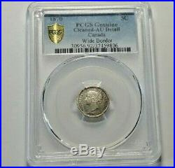 1870 Canada Silver 5 Cents Coin PCGS AU Detail
