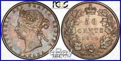 1870 LCW Canada Silver 50 Cents Coin PCGS XF-40