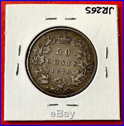 1870 LCW Canada Silver Half Dollar 50 Cent Coin $250 VF-20