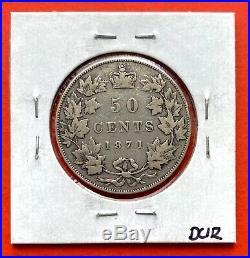 1871 Canada Silver Half Dollar 50 Cent Coin Fine