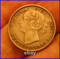 1873 Newfoundland Canada Silver 20 Cent Coin Nice Grade Key Date