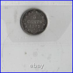 1882-H Newfoundland 5 Cents Silver Coin ICCS Graded F-15