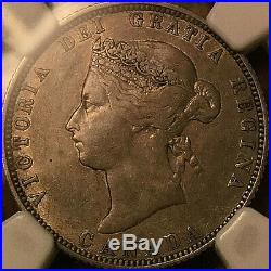 1885 CANADA SILVER 25 CENTS QUARTER Certified NGC VF-25 VERY rare coin