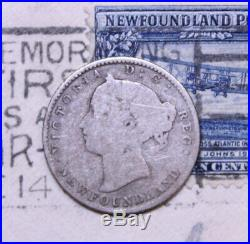 1885 NEWFOUNDLAND CANADA SILVER 10 CENT COIN lot 187 KEY DATE