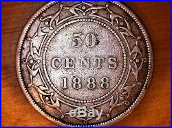 1888 Victoria 50 Cent Newfoundland Canada Coin Low Mintage 20,000 Rare Ag Silver
