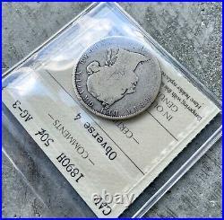 1890 H Canada Silver Half Dollar 50 Cent Coin ICCS AG-3