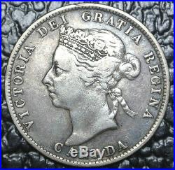 1891 CANADA-25 CENTS. 925 SILVER -Victoria -Beautiful Coin-KEY DATE -HIGH GRADE