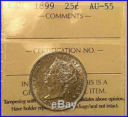 1899 CANADA SILVER 25 CENTS COIN VICTORIA QUARTER ICCS AU-55 Amazing coin