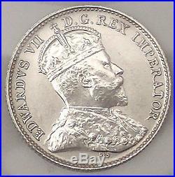 1908 Canada Silver 5 Cents Coin RARE LARGE 8 UNCIRCULATED #coinsofcanada