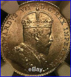 1910 CANADA SILVER 10 CENTS DIME COIN NGC MS-63 Very lustrous Uncirculated