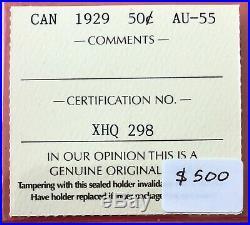 1929 Canada Silver Half Dollar 50 Cent Coin $500 ICCS AU-55
