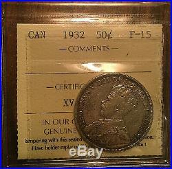 1932 CANADA SILVER 50 CENTS COIN SILVER HALF DOLLAR ICCS F-15 Very keydate