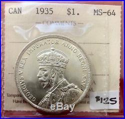 1935 Canada 1 Dollar Silver Coin One Dollar First Year! $125 ICCS MS-64