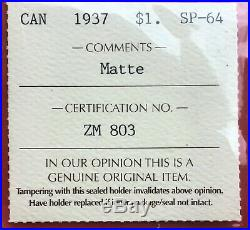 1937 Canada 1 Dollar Silver Coin One Dollar ICCS Matte Specimen SP64 Undergraded
