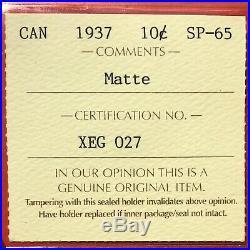 1937 Matte Canada 10 Cent Silver Coin Dime ICCS Specimen Gem SP-65 Pretty