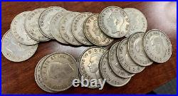 1944 Canadian Half Dollar 50c Silver Coin Roll Of 19 Coins! Free Shipping