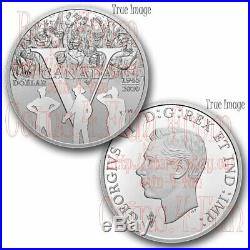 1945-2020 75th Anniversary of VE Day $1 Proof Pure Silver Dollar Coin Canada