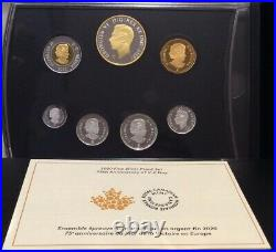 1945-2020 V-E Day 75th Anniversary Victory Pure Silver Proof 7-Coins Set Canada