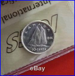 1946 Canada Silver 10 Cent Dime Coin J430 $275 ICCS MS 65 Cameo