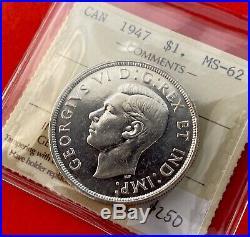 1947 Blunt 7 Canada 1 Dollar Silver Coin One Dollar $250 ICCS MS-62