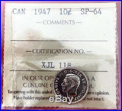 1947 Canada 10 Cent Silver Coin Dime Specimen ICCS SP-64
