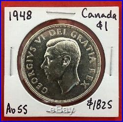 1948 Canada 1 Dollar Silver Coin One Dollar $1825 AU-55 Popular Key Date