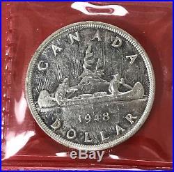 1948 Canada 1 Dollar Silver Coin One Dollar ICCS EF-40 Key Date