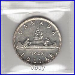 1948 Canada One Silver Dollar Coin ICCS Graded MS-60