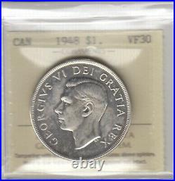 1948 Canada One Silver Dollar Coin ICCS Graded VF-30 (Polished)