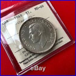 1949 Canada 1 Dollar Silver Coin One Dollar ICCS Gem MS-66