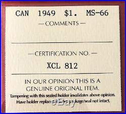 1949 Canada 1 Dollar Silver Coin One Dollar ICCS Gem MS-66 Gorgeous