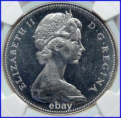 1967 CANADA CANADIAN Confederation Founding Silver Dollar Coin GOOSE NGC i85812