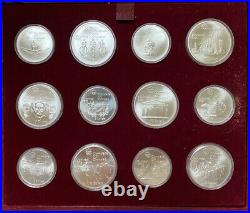 1976 Silver Canadian Montreal Olympic Games 28 Coin Set with Case & Paperwork
