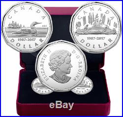 1987-2017 30th Anniversary Loonie $1 Pure Silver Proof 2-Coin Set Loon&Voyageur