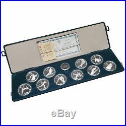 1988 Calgary Canadian Winter Olympics 10-Coin $20 Silver Proof Set COA Box