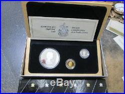 1989 Canada 3 COIN 1 OUNCE SILVER GOLD 1/10 OUNCE AND PLATINUM Proof SET BOX COA