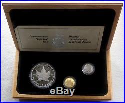 1989 Gold Platinum Silver Canada 3 Coin 10th Anniversary Proof Set In Box & Coa
