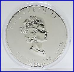 1998 Canada 10 oz Maple Leaf 9999 Fine Silver $50 Coin 10th Anniversary JJ029