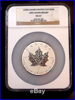 1998 Royal Canadian Mint $50 Silver 10 oz 10th Anniversary Coin NGC ECC&C, Inc