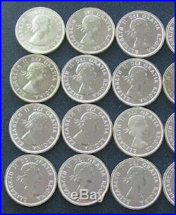 (1) Roll 1964 Canadian Charlottetown Quebec Silver Dollar Coin (20 coins) #701