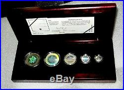 2003 Canada Maple Leaf 9999 Pure Silver 5 Coin Set Hologram PROOF