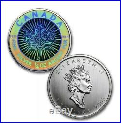 2003 Canada Silver Maple Leaf Hologram 5 Coin Set W Wooden Box And COA