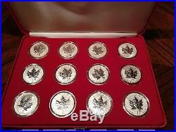 2004 Canada. 9999 Silver Maple Leaf Zodiac Privy Set 12 oz coins with COA