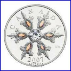 2007 $20 Canada Iridescent Crystal Snowflake 1 oz Silver Coin. Box COA. No Tax