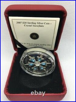 2007 Canada $20 Sterling Silver Coin Blue Crystal Snowflake