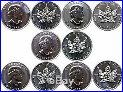 2009 Canada 5 Coin Lot Silver Maple Leafs Uncirculated Spots